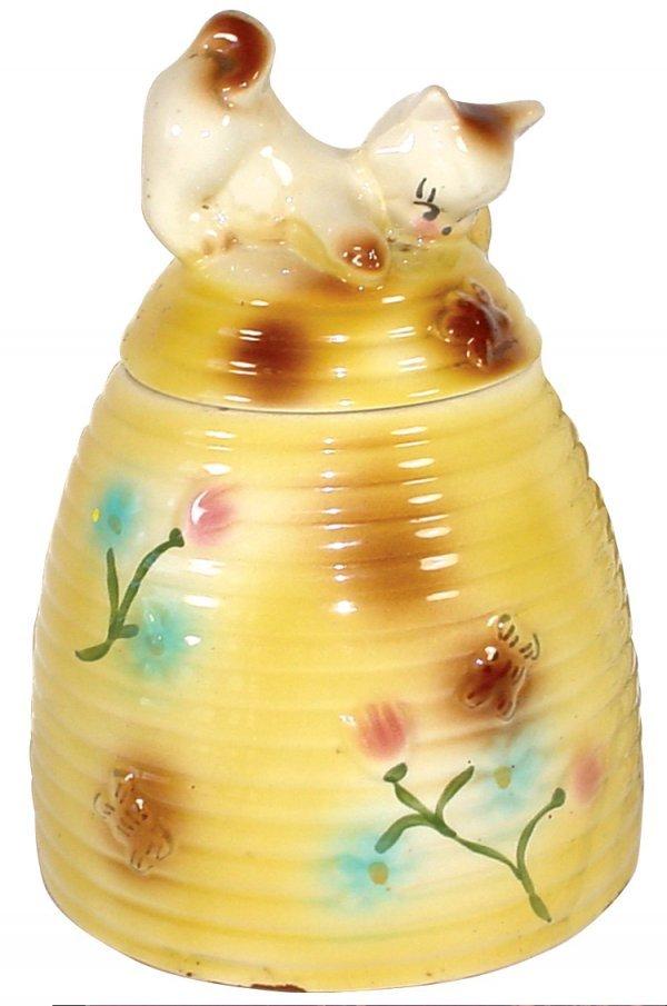 1260 cookie jar cat on beehive american bisque mark lot 1260 - Beehive cookie jar ...