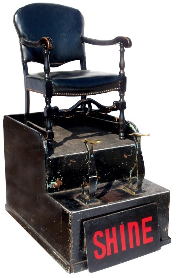 0721: Shoe shine chair, wood base w/brass foot rests, 1