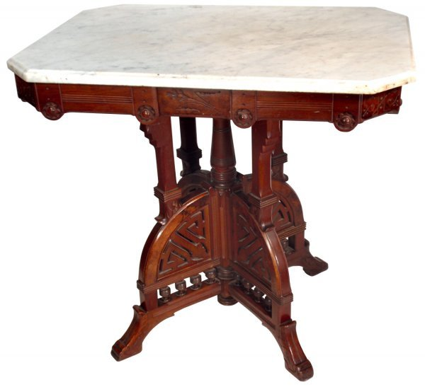 0645 Furniture Victorian Parlor Table W White Grey