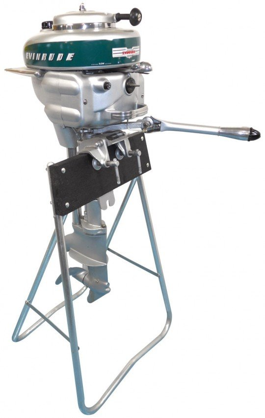 0281 Boat Outboard Motor W Stand Evinrude Light Four