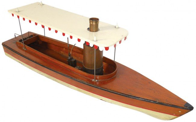 0366: Toy boat, steam boat, believed to be German, wood ...