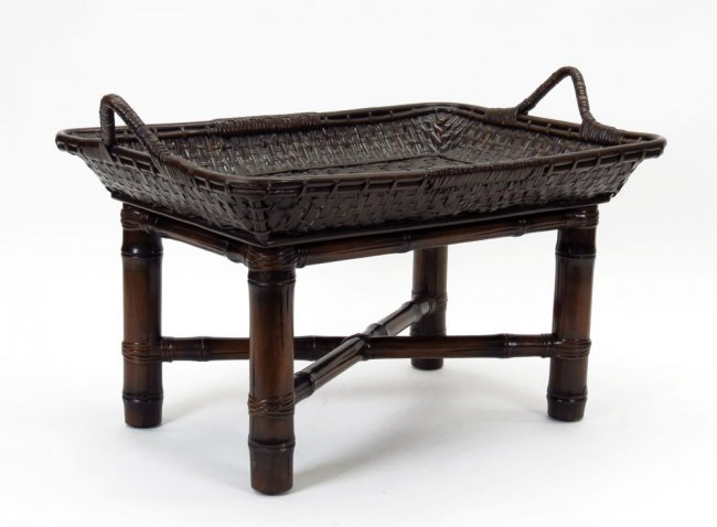 Contemporary Polo Ralph Lauren Rattan Tray Table with F