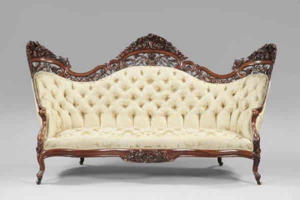 American Rococo Revival Rosewood Sofa Lot 1029
