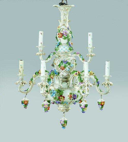 189 Carl Thieme Potschappel Porcelain Chandelier Lot 189