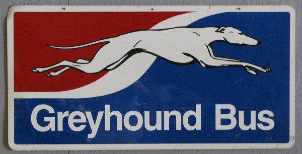 393: Double sided Greyhound Bus sign : Lot 393
