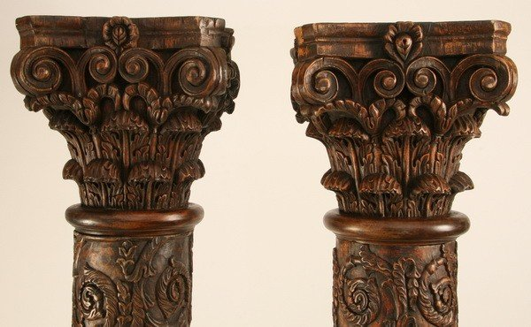 Early th c carved wood columns lot