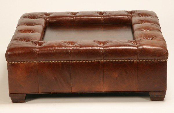 130: Oversized Tufted Leather Ottoman/coffee Table : Lot 130