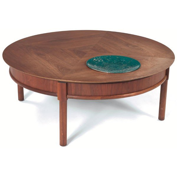 1028 Brown Saltman Coffee Table Walnut Lazy Susan Lot 1028