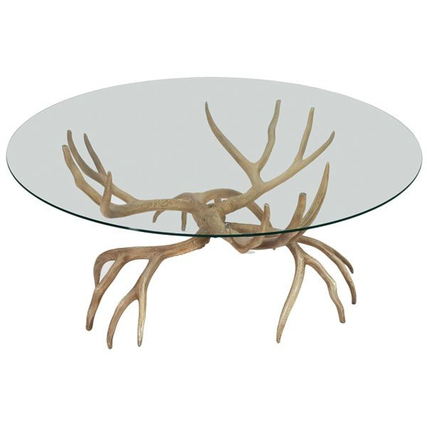 1121: Arthur Court Antler Coffee Table, USA, Solid Alum
