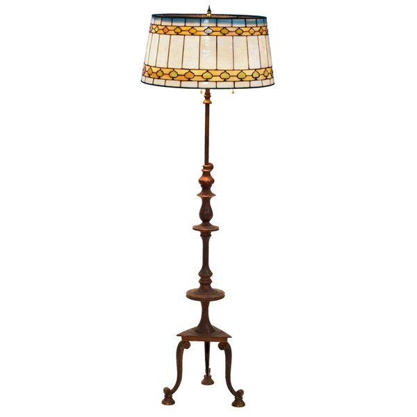 141 arts and crafts floor lamp leaded glass shade wit. Black Bedroom Furniture Sets. Home Design Ideas