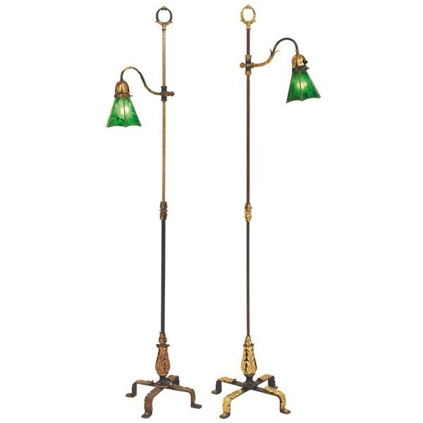 344 arts and crafts floor lamps pair brass and iron. Black Bedroom Furniture Sets. Home Design Ideas