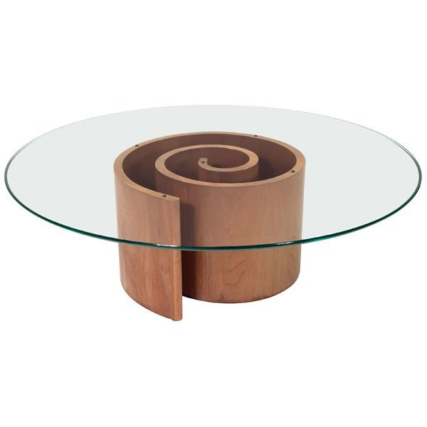 868 Vladimir Kagan Snail Coffee Table Spiral Base O Lot 868