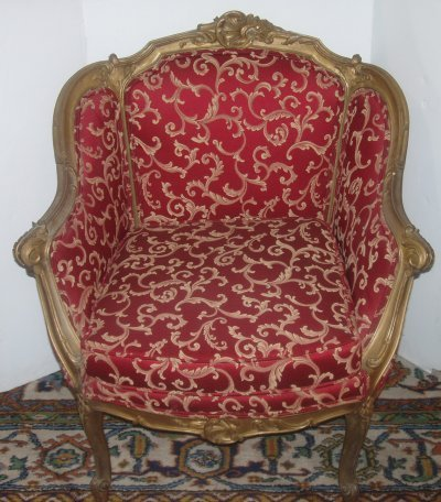 Bergere Chair On French Gilt Wood Upholstered Lot 266