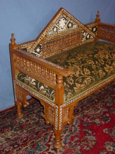 93 moroccan style carved inlaid bench lot 93 Moroccan bench