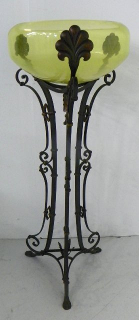 166 wrought iron stand holding a glass fish bowl lot 166 for Fish bowl stand