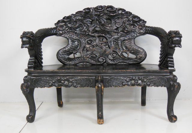 Chinese carved quot dragon bench lot