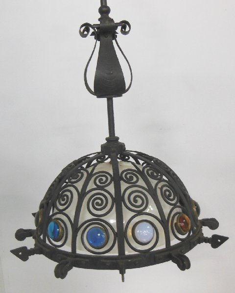 antique wrought iron light fixture lot 29. Black Bedroom Furniture Sets. Home Design Ideas