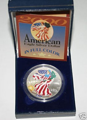 American Eagle Silver Dollar In Full Color 2000 American