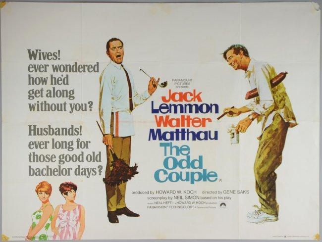 The Odd Couple (1968) British Quad film poster, comedy ...