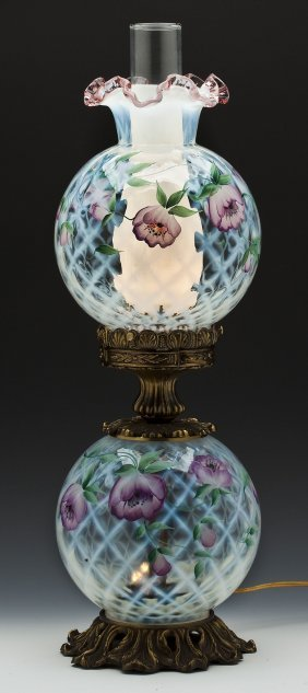 852 Handpainted Fenton Trellis Gone With The Wind Lamp Lot 852