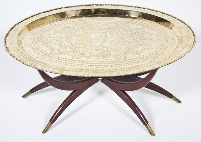 Oval Chinese Brass Tray And Wood Coffee Table Lot 548