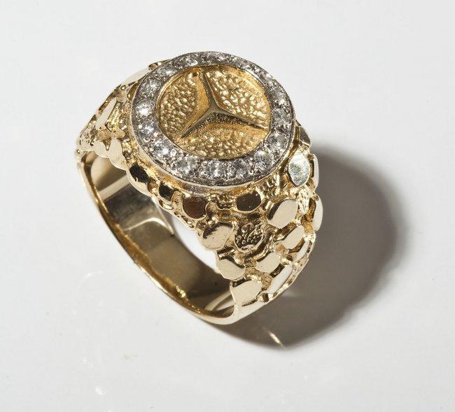 14k man 39 s mercedes emblem diamond ring lot 330 for 14k gold mercedes benz pendant