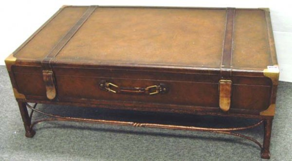 657 Contemporary Iron Leather Suitcase Coffee Table Lot 657