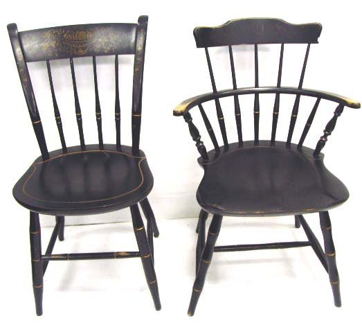 893 Nichols And Stone Hitchcock Chair Set 4 Sides 2 Ar Lot 893