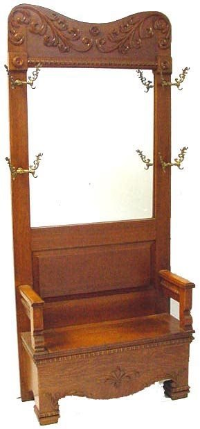 478 carved oak victgorian hall bench with mirror lot 478