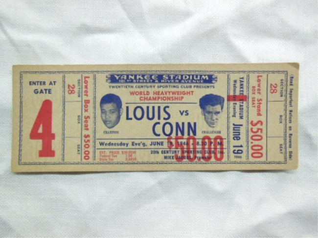 1946 boxing ticket louis vs conn lot 44