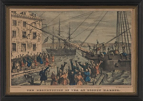 a review of nathaniel curriers lithography the destruction of tea at boston harbor the boston tea pa When word spread that shipments of tea were to arrive in the ports of boston, new york, philadelphia, and charleston, americans called for the consignees, or the people who accepted the delivery of the tea in port, to resign.
