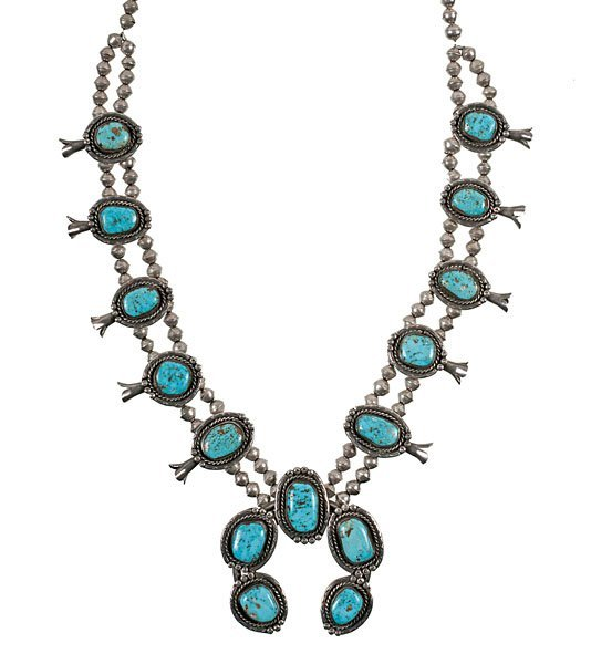 navajo silver and turquoise squash blossom necklace lot 1