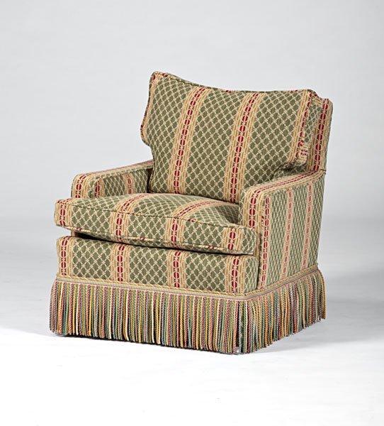 Overstuffed Chair and Ottoman Lot 141