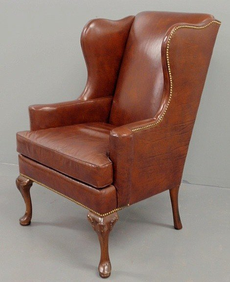 "241 Queen Anne style red leather wing chair 44""h x30"