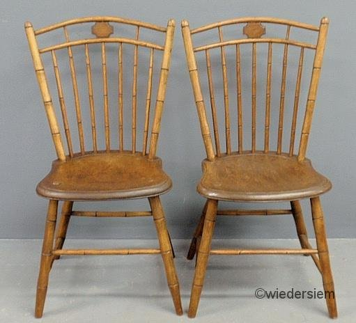 Bamboo Turned Chair: 253: Pair Of Bamboo Turned Bird-cage Windsor Side Chair