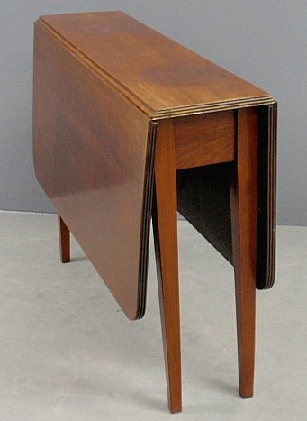 Narrow Mahogany Drop Leaf Table 19th C With A Reeded