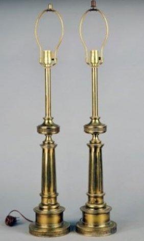pair of stiffel brass column lamps lot 235. Black Bedroom Furniture Sets. Home Design Ideas