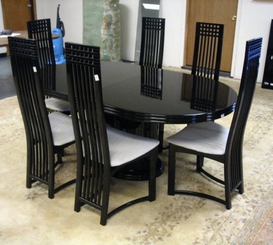 71 modern 7 pc dining set black lacquer table is 41 lot 71