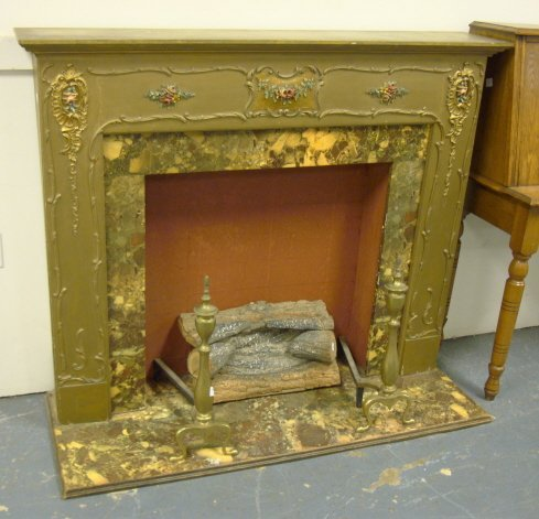 64 faux fireplace w electric logs brass andirons fe