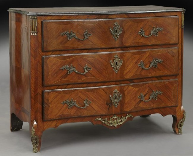 18th c french bronze mounted 3 drawer commode lot 144. Black Bedroom Furniture Sets. Home Design Ideas