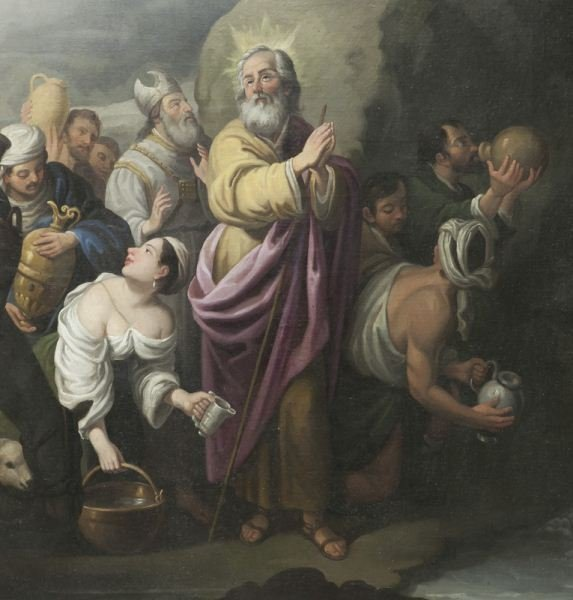 Large Oil On Canvas Of Moses Drawing Water From Lot 166