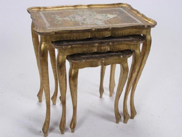 Gold Nesting Tables ~ Italian vintage gold nesting tables lot