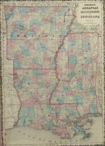 333 Antique Map Of Arkansas Mississippi Louisiana  Lot 333