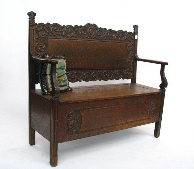 Antique Foyer Bench : Antique oak carved foyer bench lot