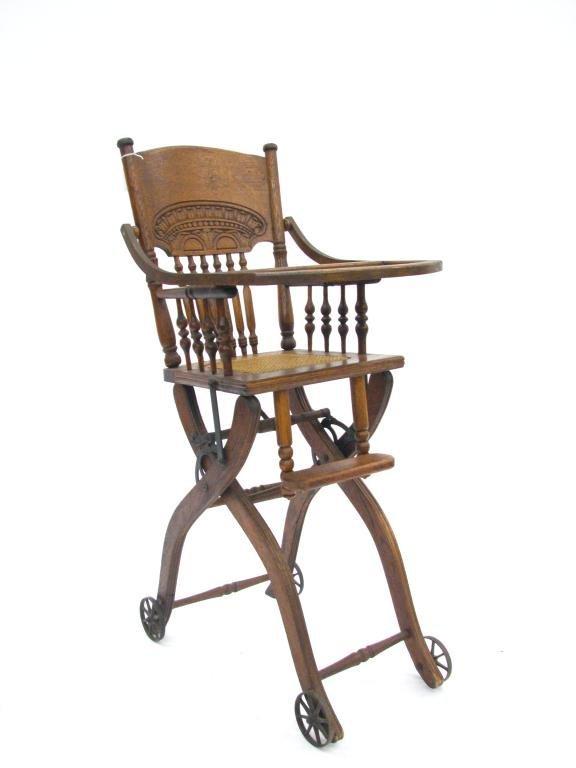 593a antique oak high chair lot 593a for Antique high chairs