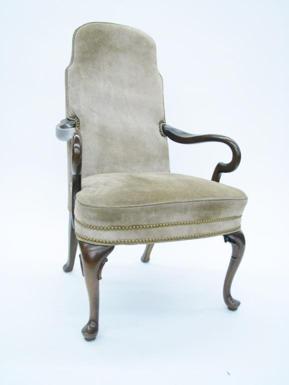 Queen Anne Style Upholstered Arm Chair : Lot 594