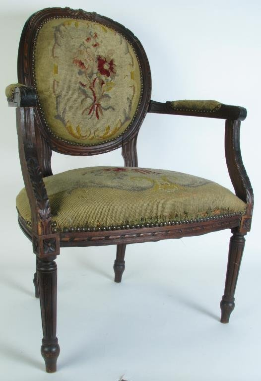 Antique arm chair with carved wooden frame lot