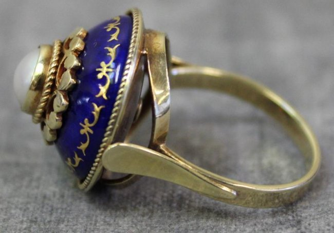 jewelry hungarian 14kt enamel and pearl ring lot 445