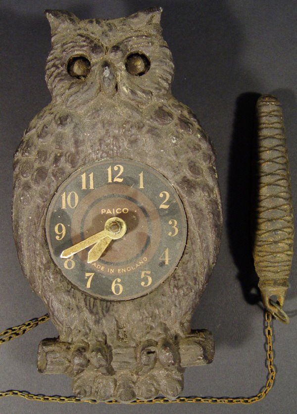 Novelty Cast Metal Owl Clock With Pendulum Operat