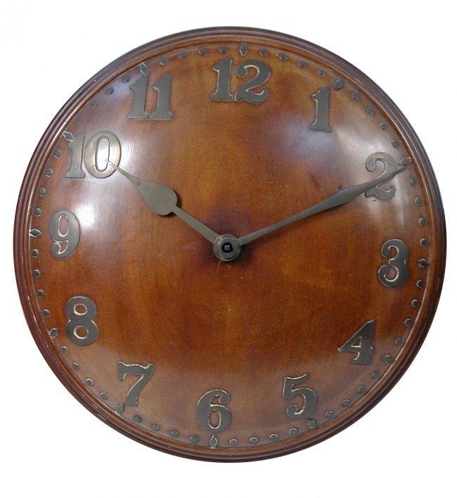 An arts crafts style convex oak wall clock circa lot 93 for Arts and crafts style wall clock